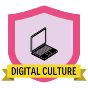 Digital culture badge with image of a laptop in the center