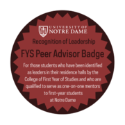 FYS Peer Advisor Badge